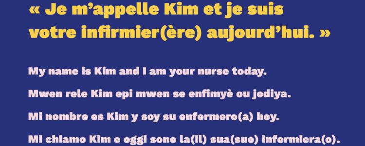 Communiquer avec un patient anglophone, créolophone, hispanophone et italophone