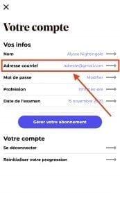 Modifier adresse courriel